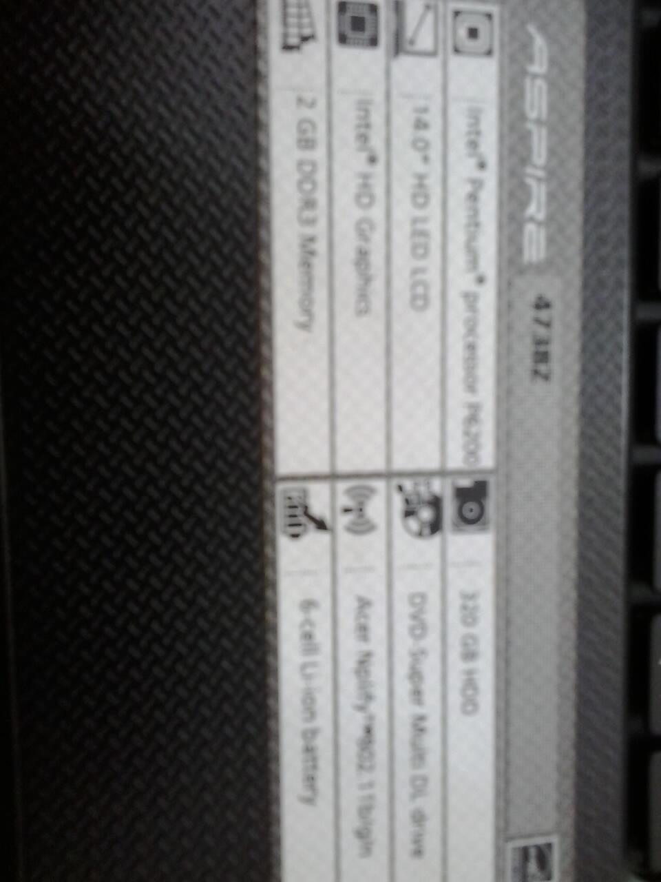 ACER 4738z RAM 2GB, HD 320GB, PC P6200