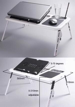 Meja Laptop atau notebook Portable table dengan 2 cooling Fan