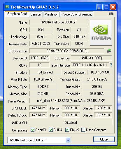 Vga Geforce 9600GT 512mb 256bit GDDR3