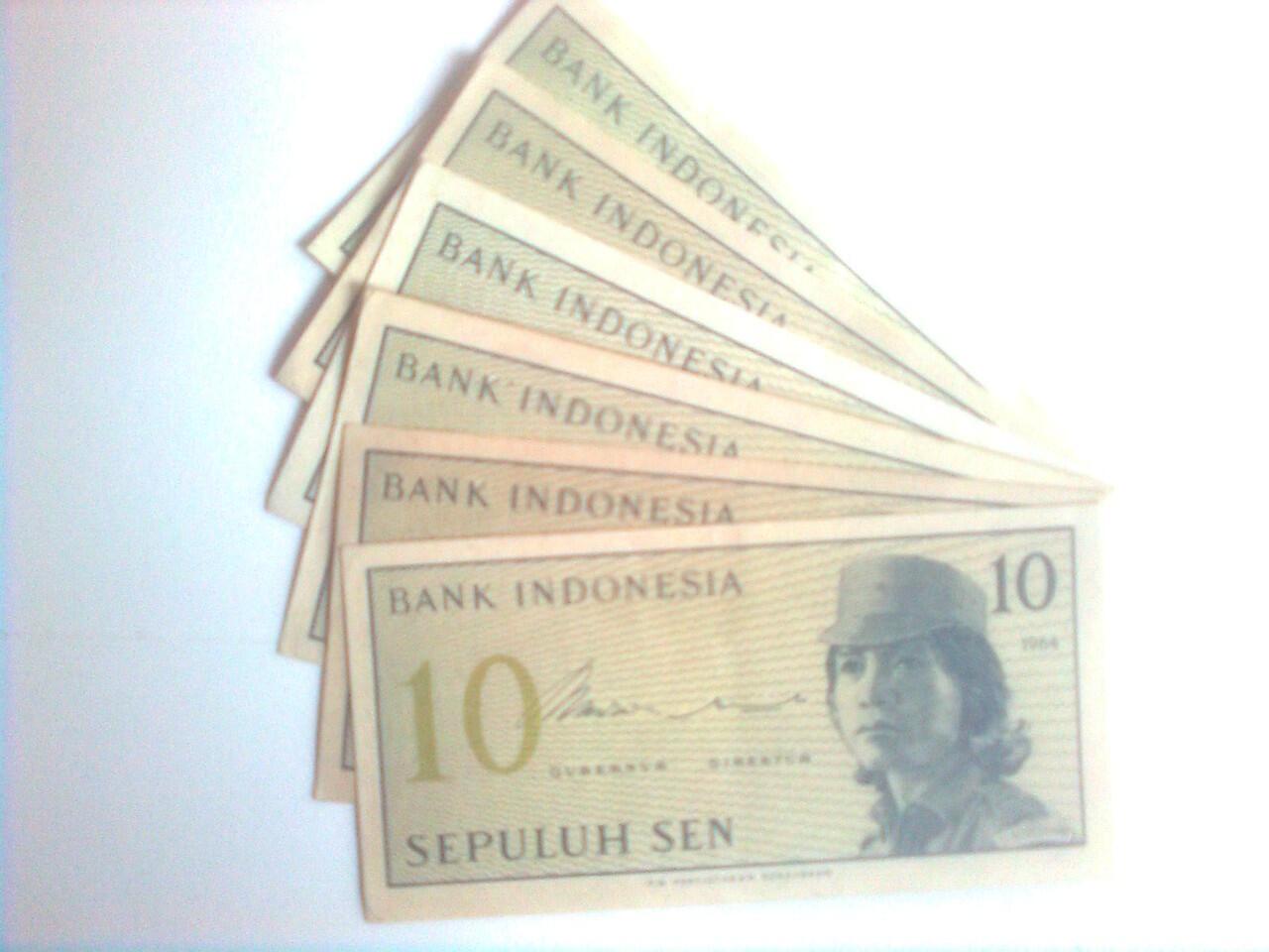 uang kuno 10 sen tahun 1964