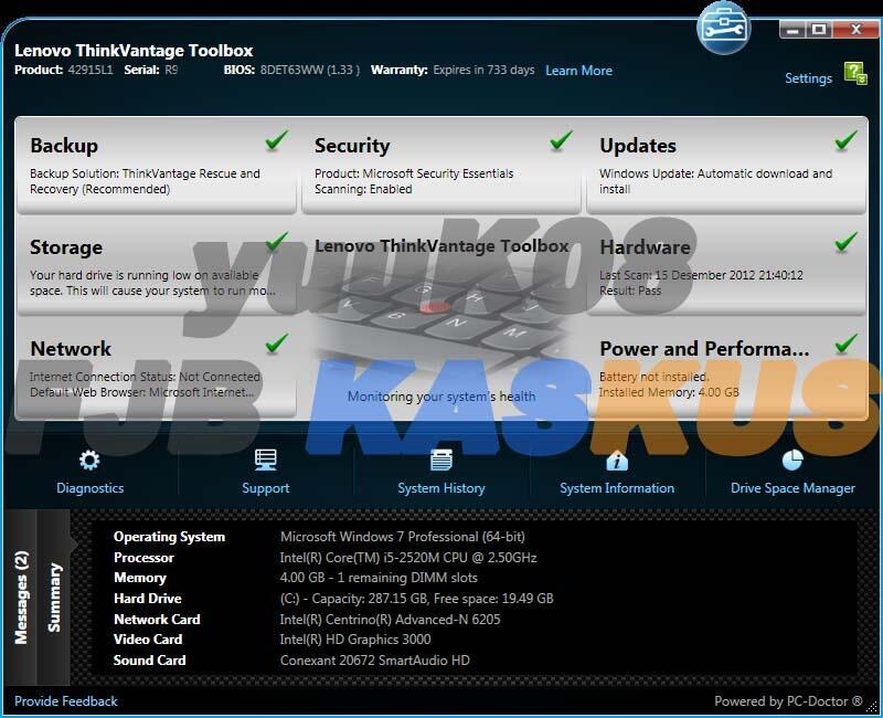 Terjual Lenovo ThinkPad X220 [Corei5, 4GB, 320GB, Garansi Panjang, Include  BONUS]