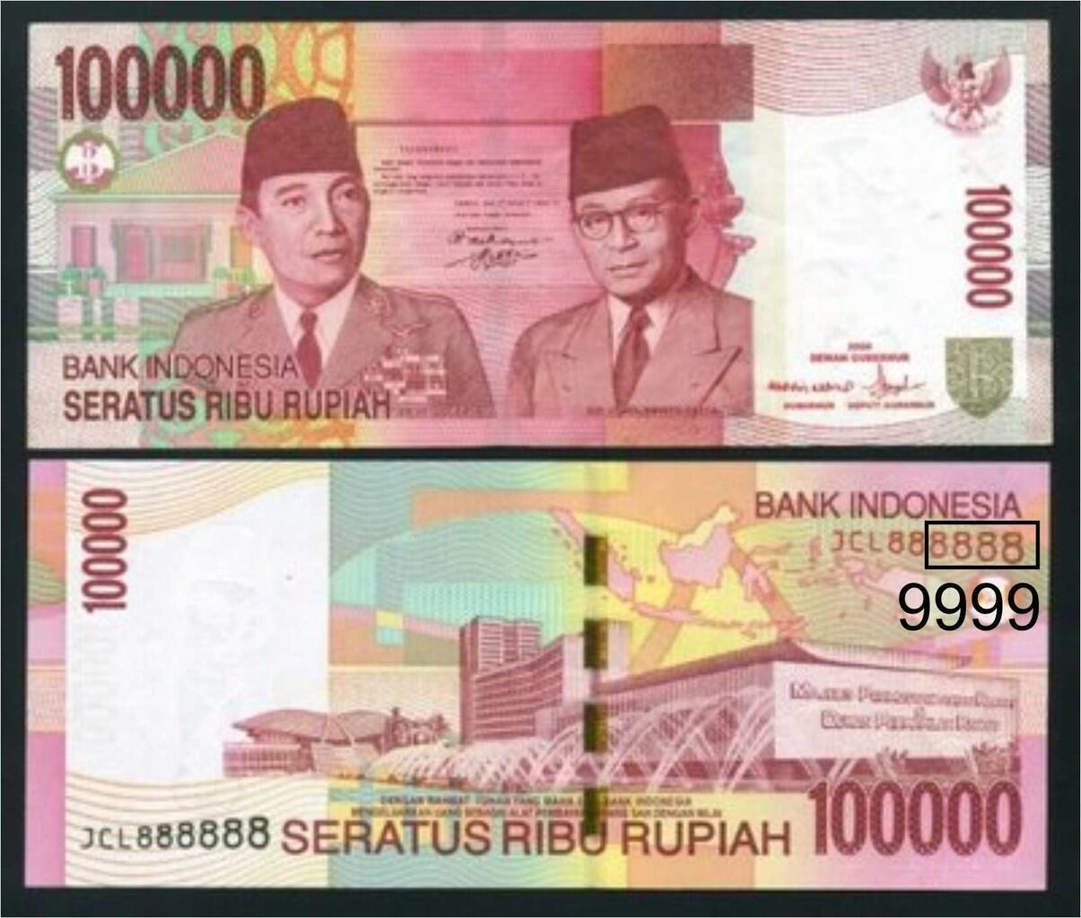 WTB uang kertas pecahan Rp.100.000 serie 999 / 9999