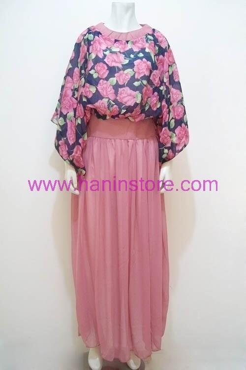 Cari G1366 Gamis Sifon Bunga Belt Busana Muslim Terbaru