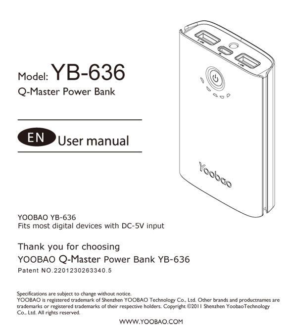 YOOBAO 7800 mAh ORIGINAL