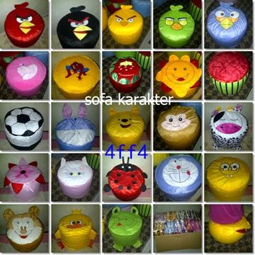 sofa angry bird, hello kitty, doraemon,pooh,mickey,sapi, spongebop, love, yoyo
