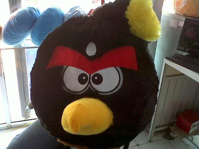 Angry Birds Jumblo Black Rasfur Halus Bordir Super