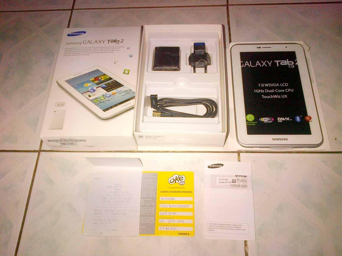 Samsung Galaxy Tab 2 P3100 White 99% mulus,Garnsi Resmi SEIN. Murah Jakarta / Bandung