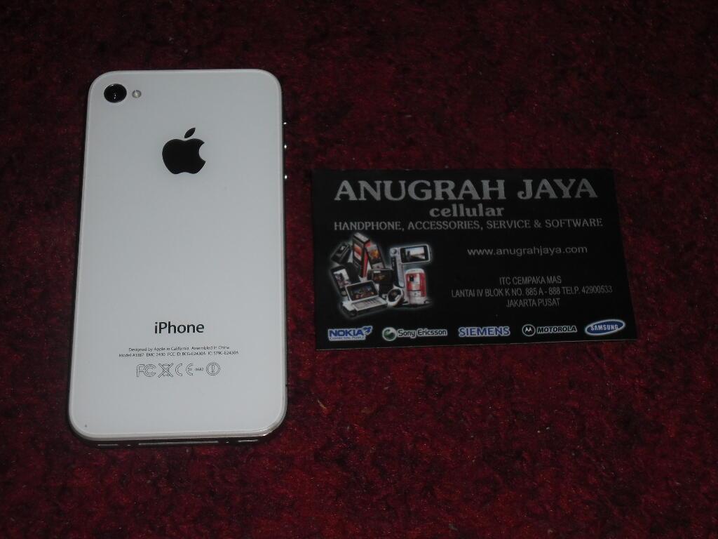 iPhone 4S 16GB FU White Second Mulus 99%, Lengkap Ori & Garansi Resmi MTS Telkomsel