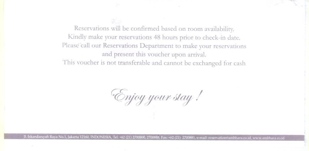 Voucher Hotel Ambhara Jakarta Deluxe Room