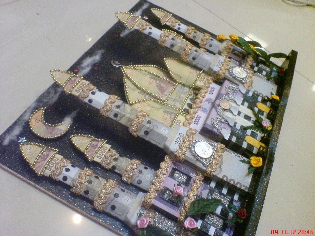 Desain Mahar Uang Pernikahan Model Mesjid Kubah Emas Depok 3D
