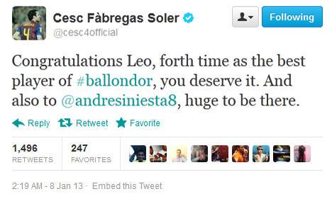 Resmi! Lionel Messi Pemain Terbaik Dunia 2012