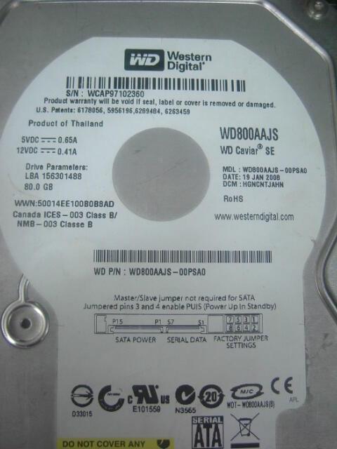 HARD DISK PC SATA 80GB WD SATA 3.5 SOLO MURAH