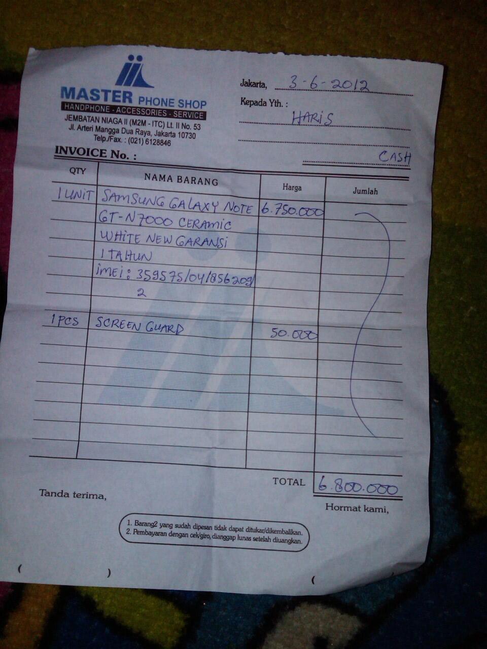 [WTS] SAMSUNG GALAXY NOTE 1 N7000 FULLSET GARANSI SEIN JUNI 2013 MULUS DEPOK