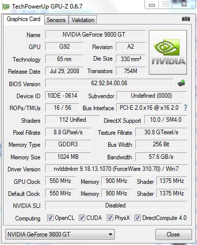 VGA DA 9800GT 1 GB Second mulus lagi BU nih gan