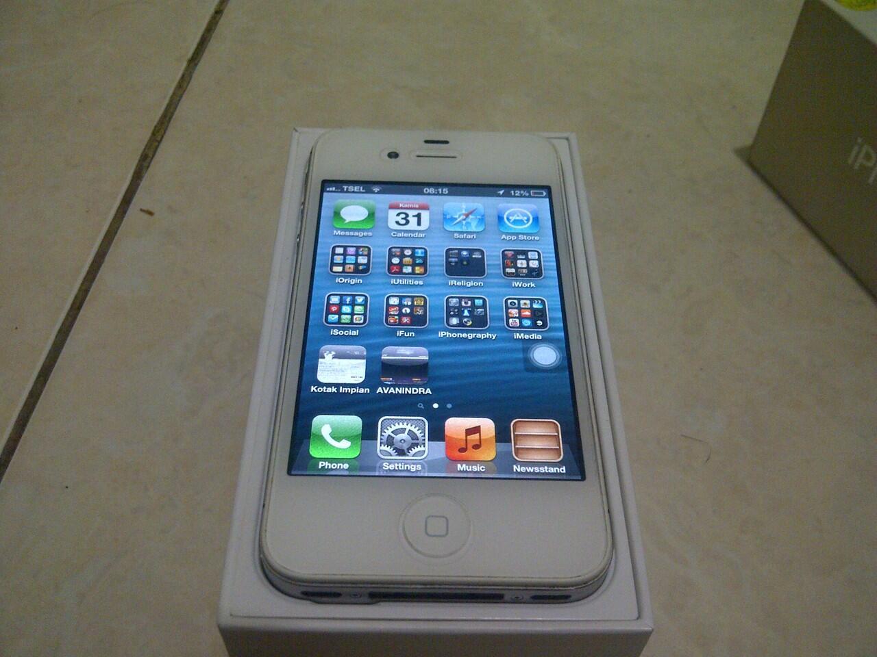 iPhone 4S 16GB White FullSet + Bonus mulus