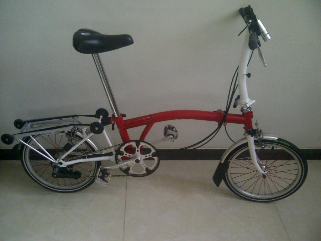 Terjual Jual sepeda lipat Brompton warna merah putih (17
