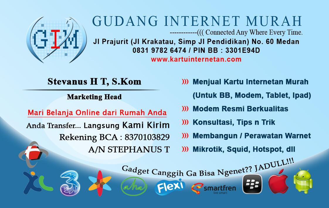 Gudang Internet Murah, JUAL Kartu internetan (BB, Modem, Ipad) TERMURAH