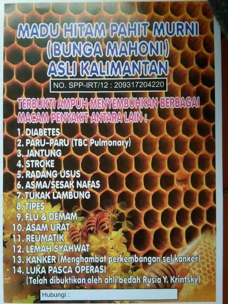 Madu Murni dan Asli Kalimantan (Hitam Pahit dan Hitam Manis)