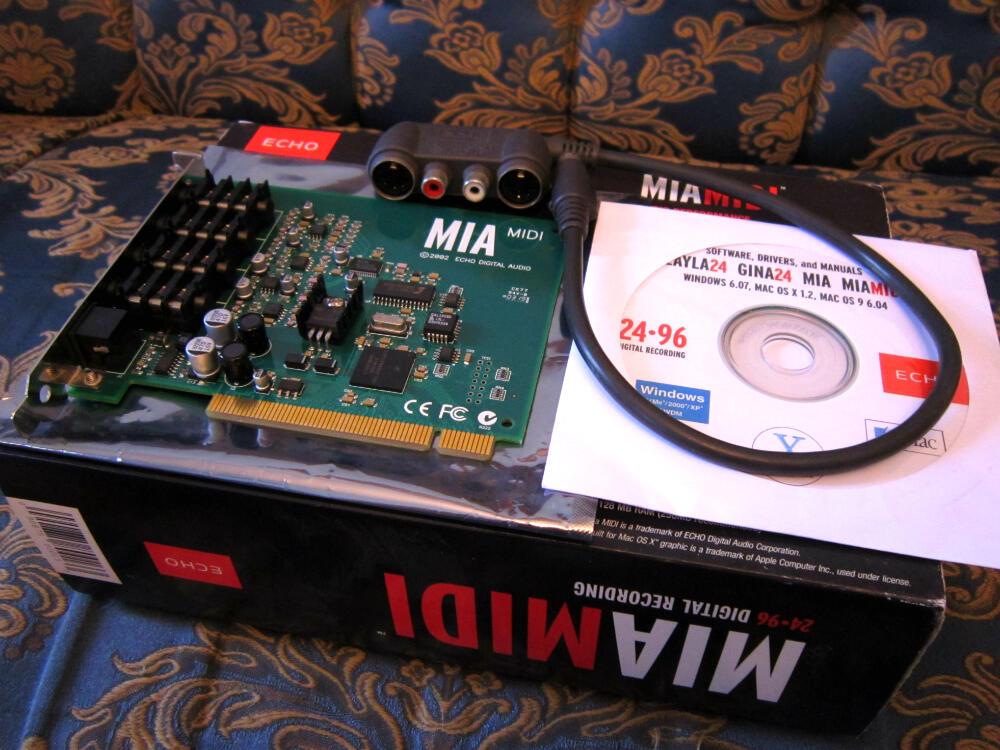 Sound Card ECHO MIA MIDI... 4 in/ 4out, 24-96 Digital Recording, Full Set