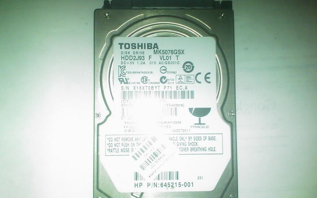 "Harddisk 2,5 "" Laptop Toshiba 500 gb SATA (surabaya)"