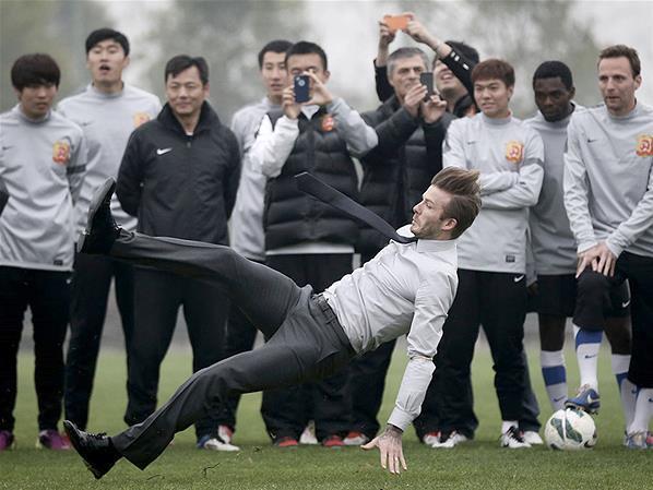 David Beckham Terpeleset di China