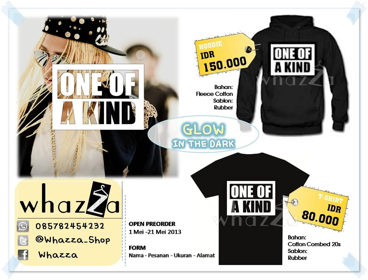 Hoodie dan Kaos ONE OF A KIND G-Dragon (Glow in the dark)
