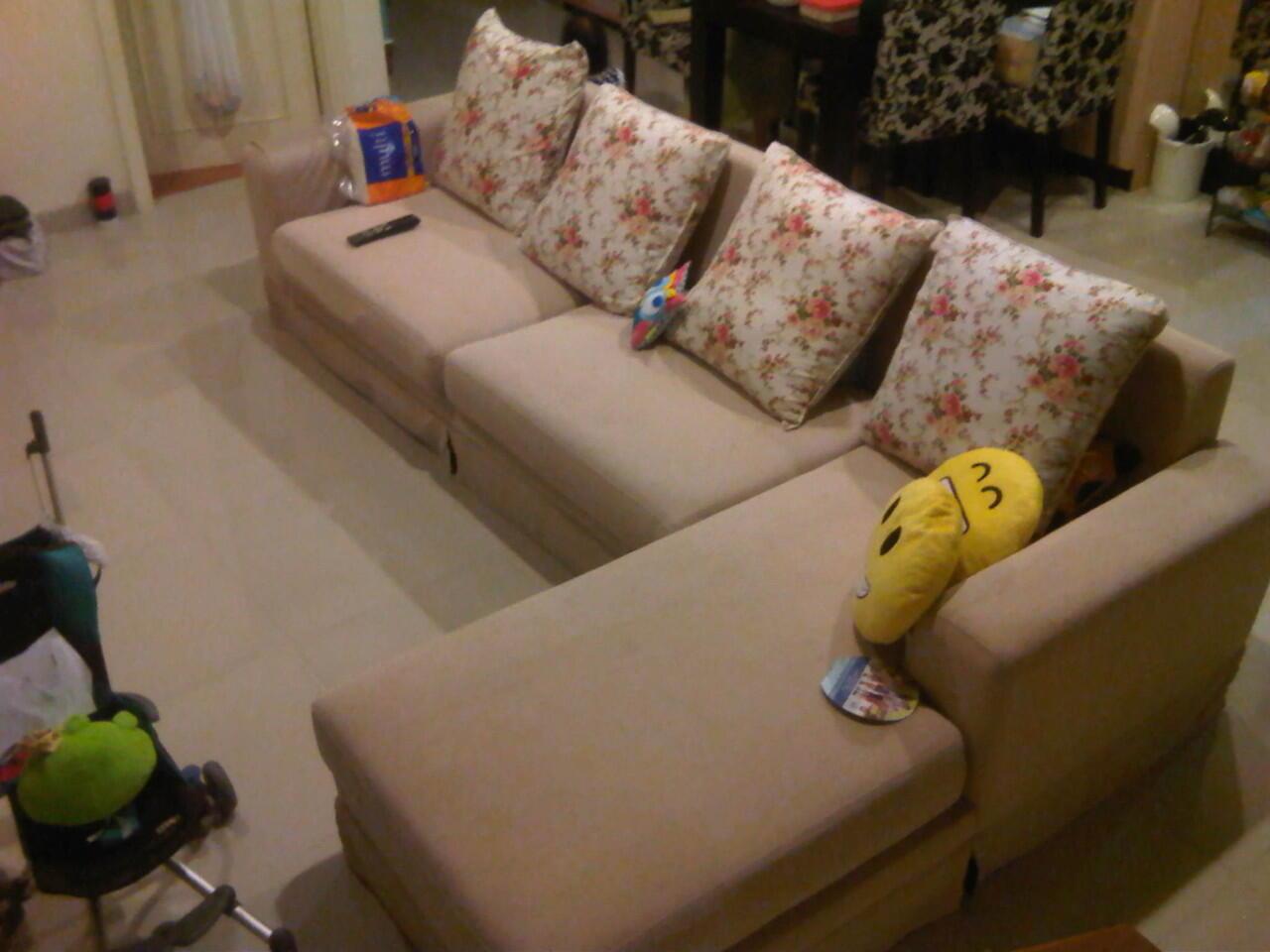 Jual sofa L warna creme, minimalis dan keren