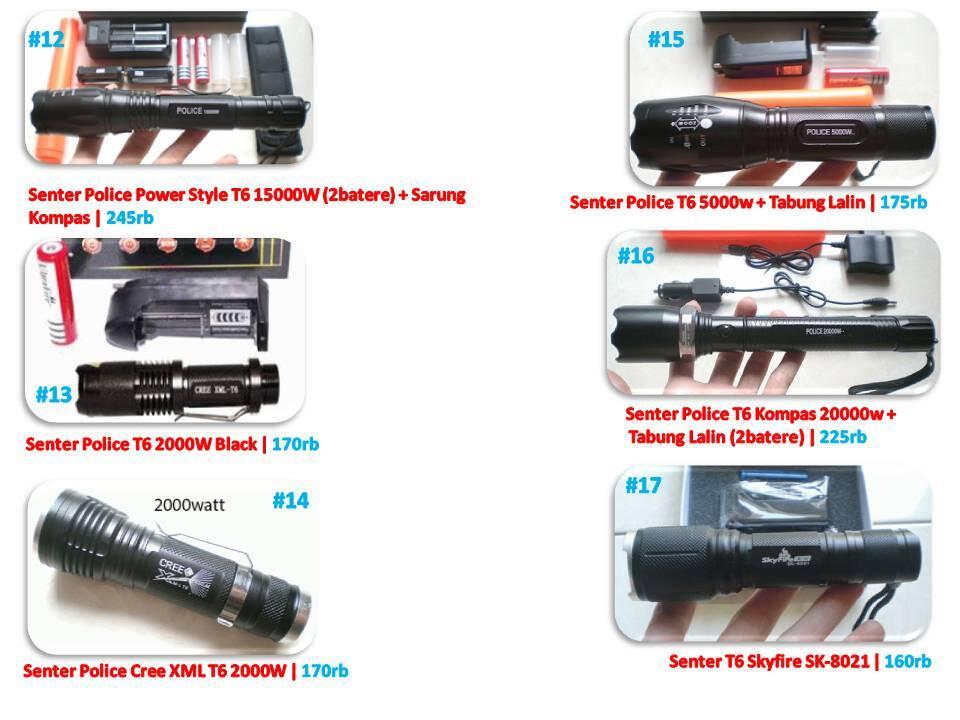 senter police,LED,cree,polisi,swat 5000,15000,20000 watt,T6,zoom,mini,lentera,xml