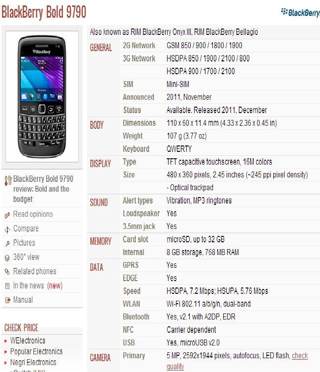 BlackBerry Bold 9790 Bellagio