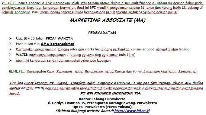 Kesempatan Karir di BFI Finance Cabang Purwokerto, Kebumen dan Banjarnegara