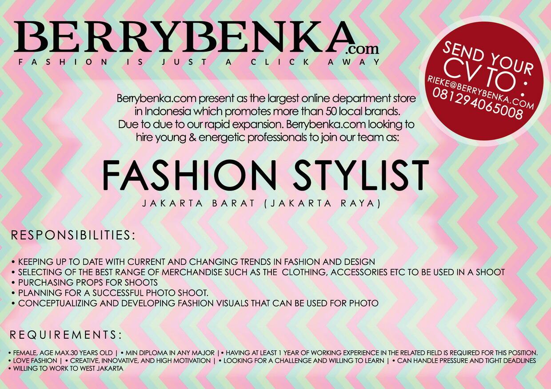 Lowongan Pekerjaan : Jr. Fashion Stylist