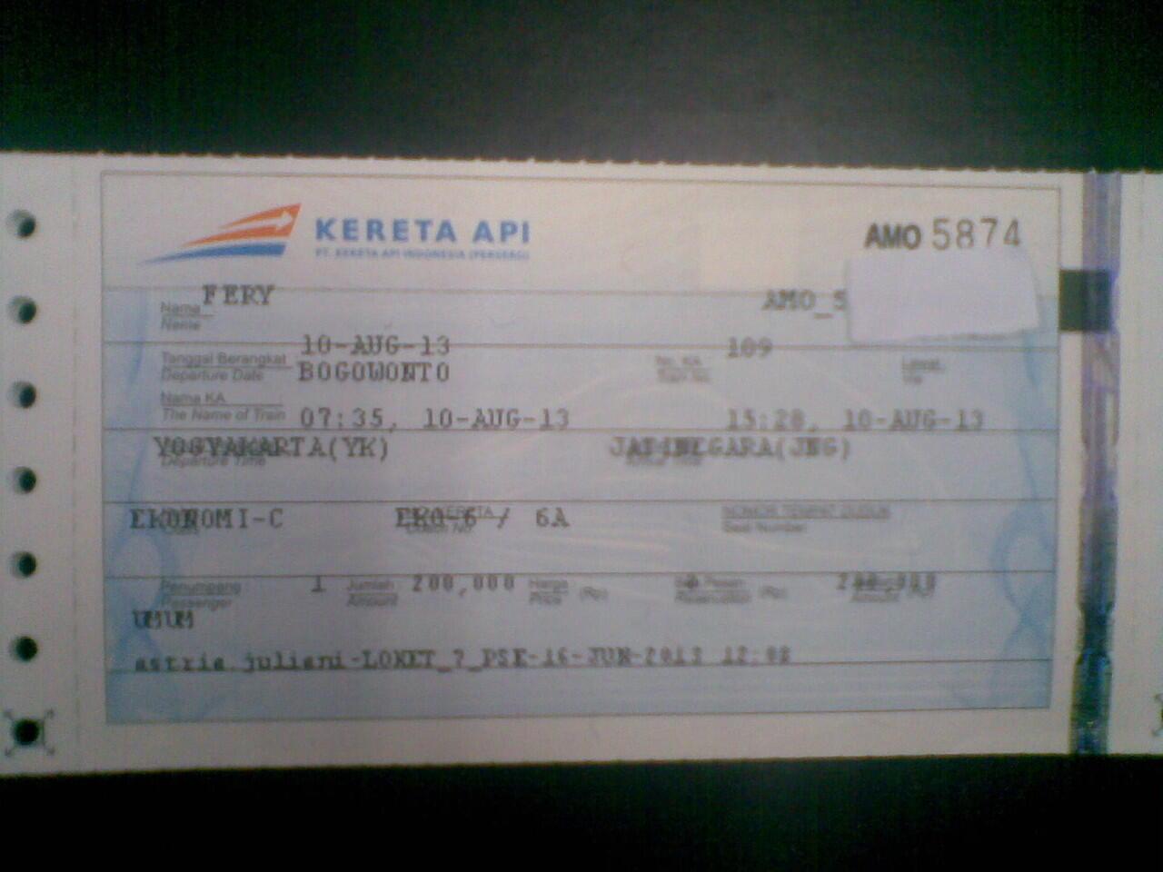 Terjual Jual Tiket Kereta Jakarta Jogja Pp 8 Agustus 2013 10 Agustus 2013
