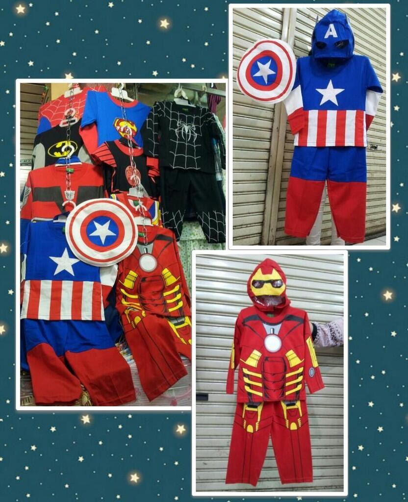 Jual setelan anak gambar logo Superhero & baju kostum ...
