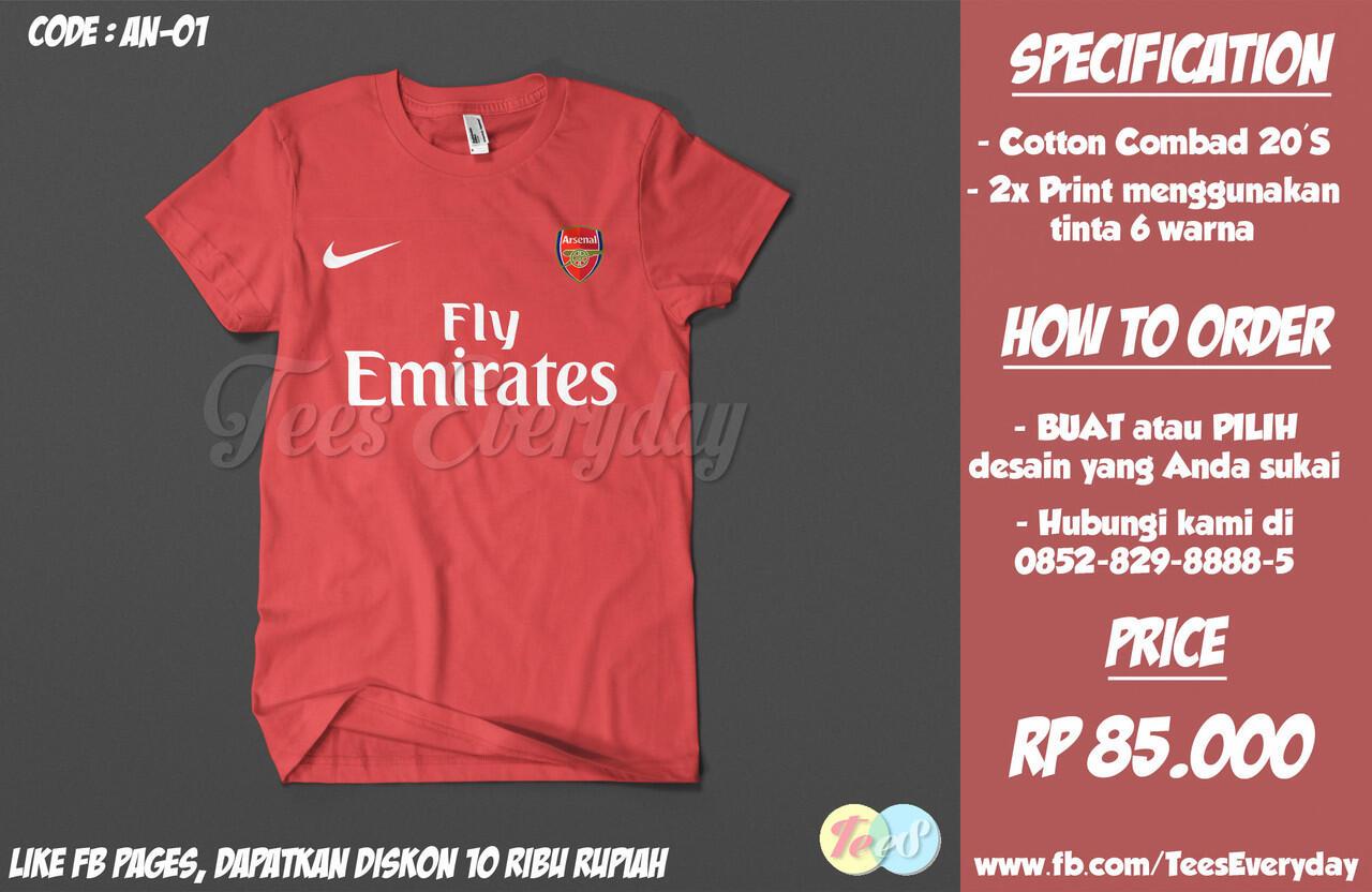 Arsenal Jersey on Shirt | No Minimum Order