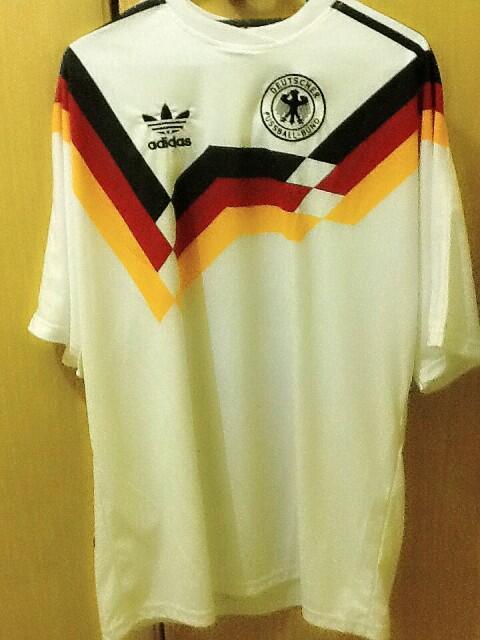 (wts) jersey retro jerman / germany home 1990 nameset voller #9 KW RARE murah