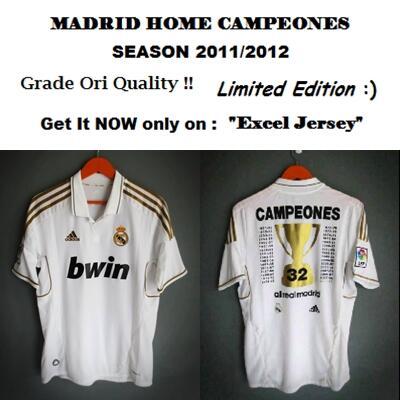 [SUPER LANGKA] JERSEY JUARA (CAMPEONES) REAL MADRID MUSIM 2011/2012 Rp 160.000 !!