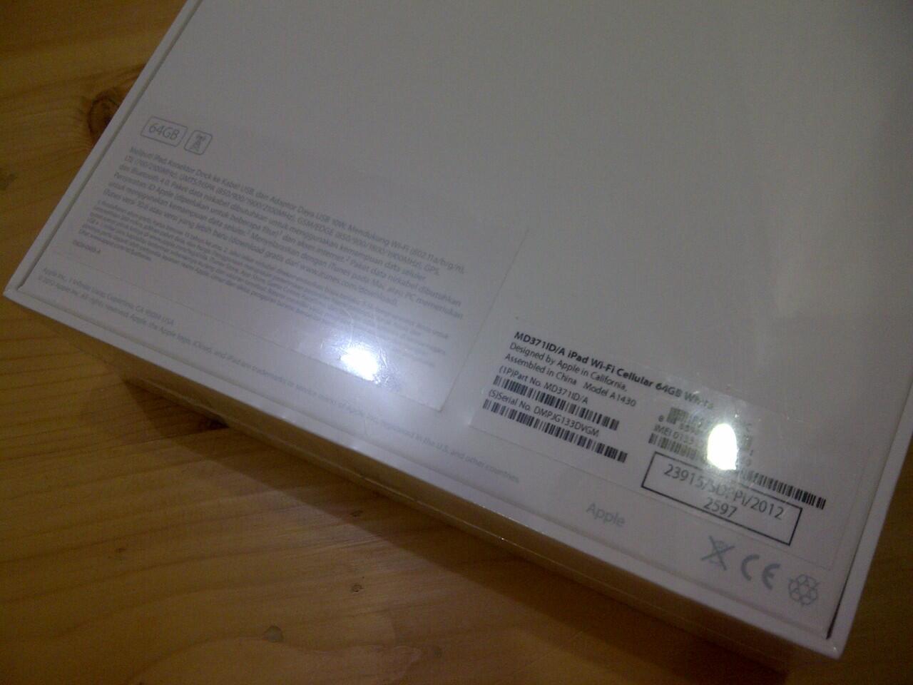 Jual Apple iPad 3 3G WiFi White/black Full Sek