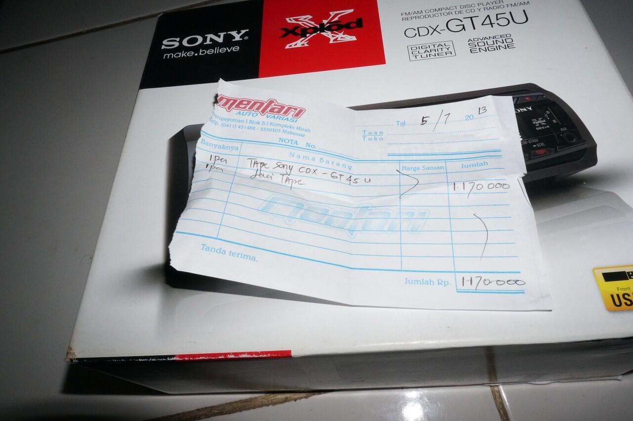 TAPE SONY CDX-GT45U SINGLE DIN MAKASSAR