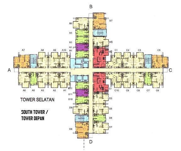 DIJUAL: CEPAT Pakubuwono terrace type 2Br HOOK semi gross 49,40m2,Tower Depan