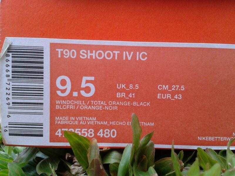 jual sepatu futsal Nike T90 shoot IV IC total orange original cuma 395.400 40 - 46
