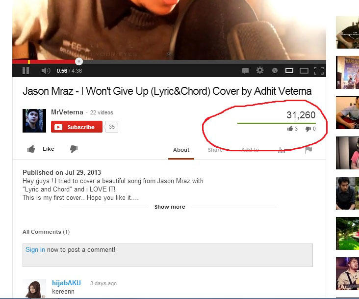 Jasa Youtube views (100 views = Rp.10.000)