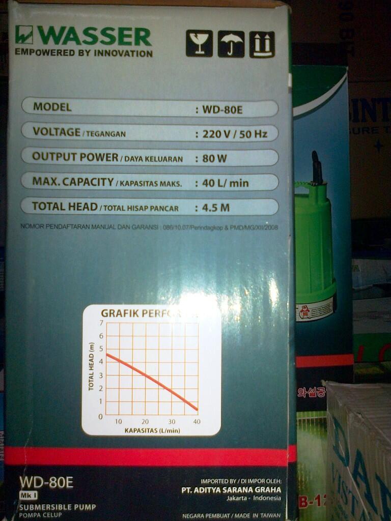 Pompa Celup / Apung WASSER WD-80E & WD-101E untuk Kolam Ikan dan