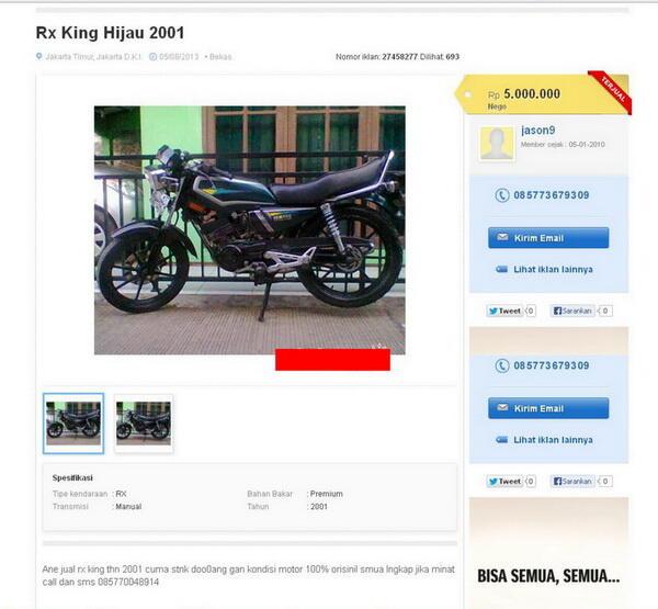 Bagi yang menemukan sepeda motor RX King dengan plat nomor B 3612 SQ
