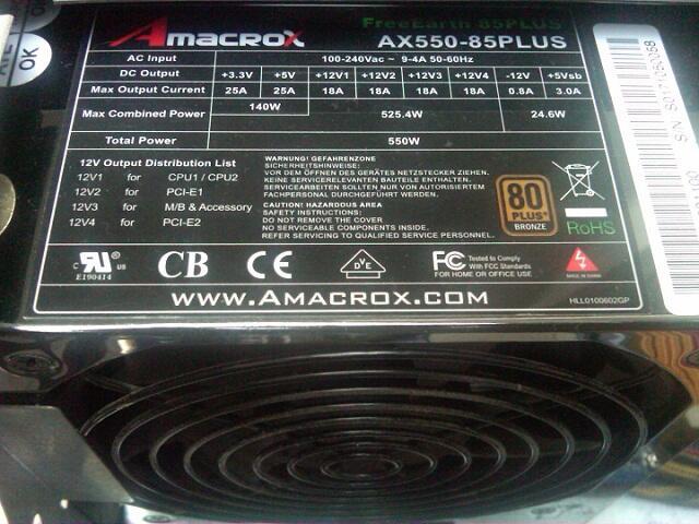 PSU Pure Amacrox Free Earth AX550 - 85plus bronze