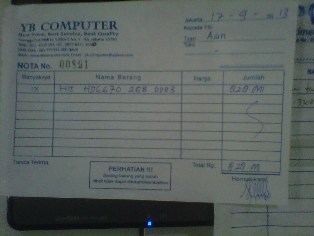VGA HIS 6670 2 GB DDR3 128bit baru pake 6 hari