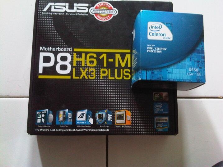 PAKETAN 1155 : ASUS P8H61M DAN INTEL G550 ( FULLSET LIKE NEW)