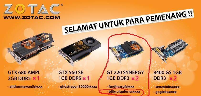 Zotac GT 220 1GB DDR3 (NEW dapet dari undian Harga Miring)(BDG)