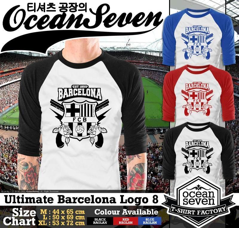 Kaos Super Keren Raglan Barcelona Ultimate Logo