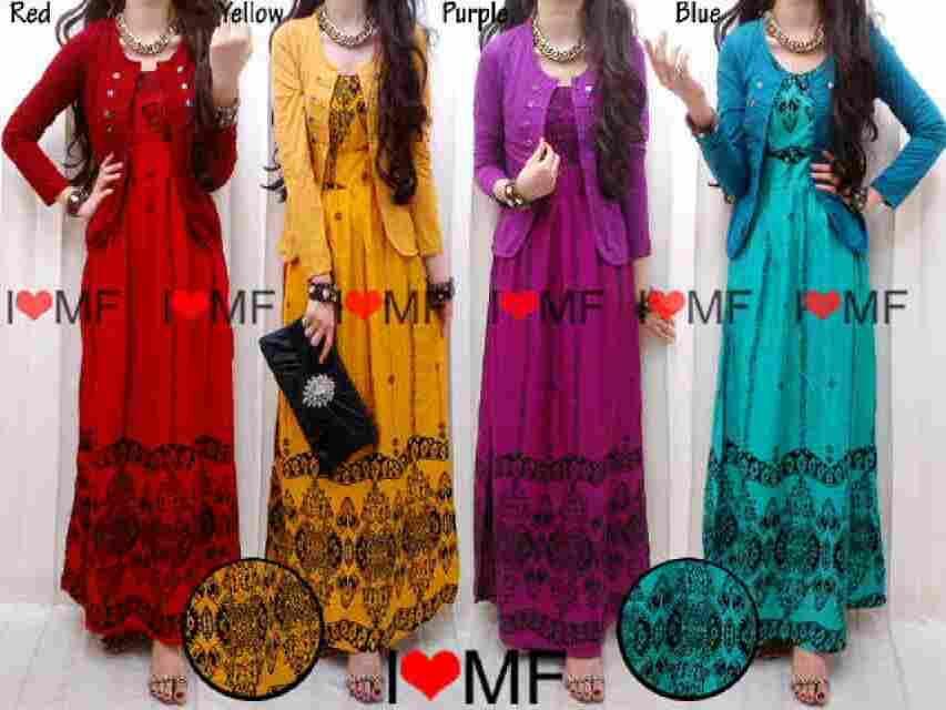 Baju busana muslim wanita Maxi rayon cutton ethnic + cardi rayon spandex