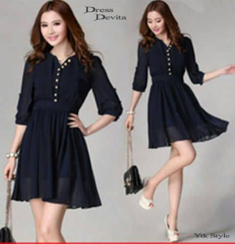 Dress Feminim Wanita Import Korea Good Quality Coklat serta Hitam